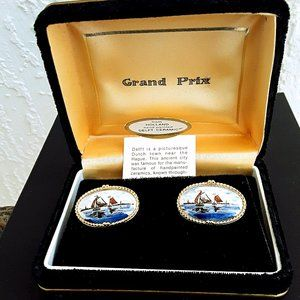 Swank Delft Hand-Painted Cuff Links from 1960's